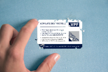 Easily destructible security films tear into tiny pieces when they are removed (photo: VPF)