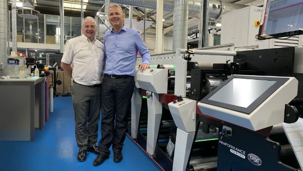 Mark Andy's UK & Ireland sales manager Paul MacDonald with Berkshire Labels' managing director Paul Roscoe and the first P9E to be installed in Europe.