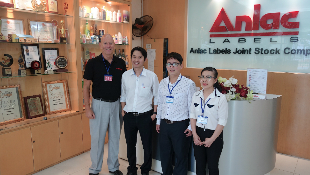 From left: Vetaphone's area sales manager for APACME, Finn Hinze, with Anlac's purchasing manager, Le Quoc Dung, and Trinh Tran Minh Duc and Tran Thi Minh Thu of Toanan, Vetaphone's representative in Vietnam.
