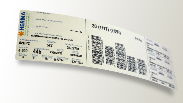 HERMA has now completely converted its industry-standard EPSMA labels for mailing pressure-sensitive materials to labels made of 100 percent recycled paper – currently more than one million roll labels per year.